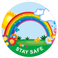 48 Personalised RAINBOW STAY SAFE Stickers 40mm Labels