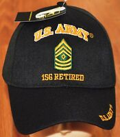 New Black US Army 1SG First Sergeant Retired Hat Ball Cap Veteran Licensed E-8