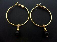 A PAIR OF GOLD COLOUR 30MM HOOP & BLACK ONYX  BEAD  EARRINGS. NEW.