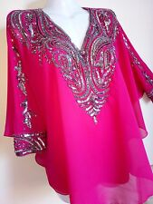 NEW SILVER SEQUIN BLOUSE PONCHO VEST SHIRTS WEDDING TOPS TUNIC CAPE CAFTAN  SEXY