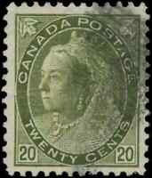 Canada #84 used F-VF 1900 Queen Victoria 20c olive green Numeral CV$120.00