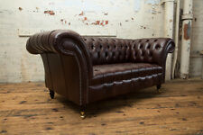 TRADITIONAL HANDMADE 2 SEATER VINTAGE ANTIQUE BROWN LEATHER CHESTERFIELD SOFA