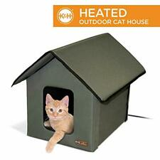 K&H Pet Products Outdoor Heated Kitty House Cat Shelter Olive 18 X 22 X 17 In...