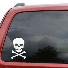 "Pirate Jolly Roger Skull Car Window Decor Vinyl Decal Sticker- 6"" Tall White"