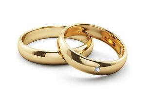 2x 375 Gold Trauringe Eheringe Diamant Damenring Partner-Ringe Gelbgold Brillant