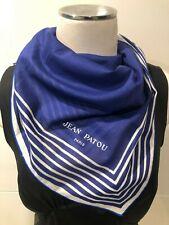 Jean Patou Paris Vintage 100% Cotton Blue & White Stripe Scarf 58x58cm Excellent