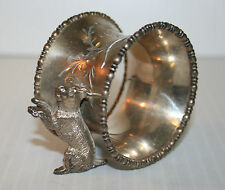 Victorian Silver Plated Napkin Ring Two Small Dogs Unnamed
