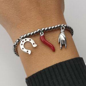 Bracciale da donna braccialetto portafortuna con corno cornetto in acciaio inox