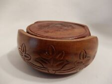 Hand Carved Sheesham Wood Coasters from India, Six in Holder