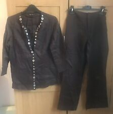 Lady Brown Linen Casual Trousers-Suit Size UK S/M,IT 42,Petites,Oviesse Business