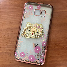 Samsung Galaxy S7 - Rose Gold Diamond Hello Kitty Bling PINK Flowers Rubber Case