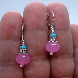 Dangling Pink Fuchsia Jade Blue Turquoise Silver Earrings Popular Mesmerizing