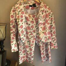 Nicole Miller Size 6 Rose Floral Double Button Blazer Jacket W/ Sz 8 Pants Set