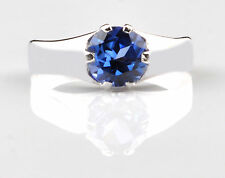 1.40 Carat Natural Blue Tanzanite Solid 14KT White Gold Round Shape Wedding Ring