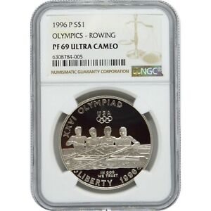 1996 P Olympics Rowing Proof Silver one Dollar NGC PF69 Ultra Cameo