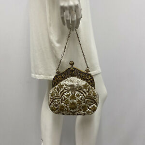 Vintage French Silk Embroidered Purse Off White Gold Flowers & Bird From France