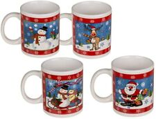 4x Christmas Printed Xmas 12oz Fine Bone China Drinking Tea Coffee Mugs Gift