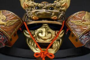 Vintage Japanese Samurai Helmet -Dragon and Hawk Deco Kabuto with a mask-
