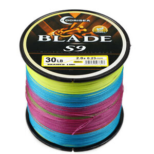 100M-1000M 9 Strands Blade Multi-Color Super Strong Pe Round Braid Fishing Line