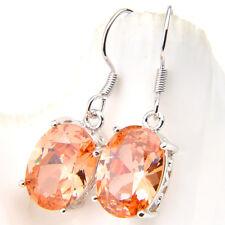 Classical Oval Cut Shiny Natural Morganite Gemstone Silver Dangle Hook Earrings