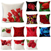 Rose Pillow Cover Floral Pillow Case Sofa Couch Cushion Cover Throw Home Decor