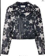 $19k Black Yves Saint Laurent Leather Crystal Star Motorcycle Jacket Size 8 40