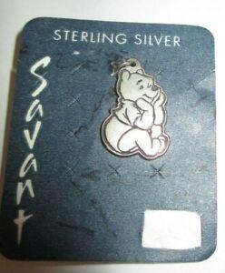 DISNEY POOH BEAR  STERLING SILVER SAVANT CHARM ON CARD