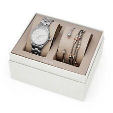 NEW FOSSIL 3 PC SET SILVER+ROSE GOLD TONE,CRYSTAL,MULTIFUNCTION WATCH-BQ3077SET