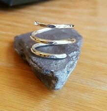 Handmade Unisex 925 Sterling Silver Hammered Double Coiled Boho Hippy Wire Ring