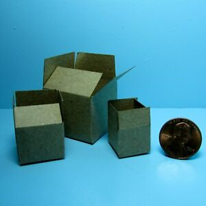 Dollhouse Miniature Set of 3 Card Board Boxes in Small, Medium & Large HR56015