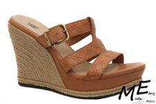 New UGG Australia Hedy Emboss Wedge Women Leather Sandals Size 9.5