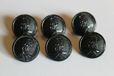 6x Black King Edwards Own Ghurkas Rifle British Indian Army Buttons - 20mm QC