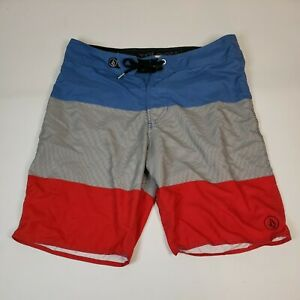Volcom Board Shorts USA Flag Red White Blue Striped Size 33