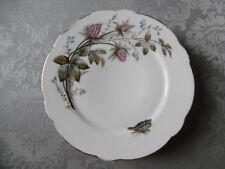 """Ancien Plat à Gâteaux en porcelaine liserets Or """"Fleurs et papillon"""" Limoges(?)"""