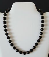 "Monet Beaded Necklace Black Lucite Beads Gold Tone Choker 15 1/2"" Vintage"