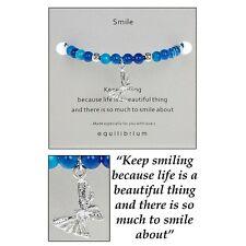 Beautiful Equilibrium Natural Quartz  'Smile' Message Bangle Bracelet