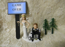Wedding Party Ball & Chain Cake Topper ~Game Over Sign~  Bride  & Drunk Groom