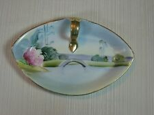 Vintage Nippon Hand Painted Candy/Nut Dish Single Handle Water Scene Gold Trim