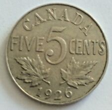 1926 Near 6 CANADA  5 Cent Nickel Coin KING GEORGE V Lot #783D