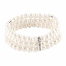Bead Stretch Bracelet Bangle Grey White Ladies Jewelry 3 Rows Imitation Pearls