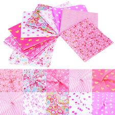 9 Pcs Cotton Floral Pre Cut Charm 25x25cm Squares Quilt Fabric Quarters Pink Kit