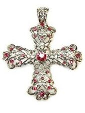 Cross, Pink/Rose Crystals, Magnetic Bail, Beautiful Christian Gift Pendant #24-F