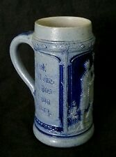 Antique German stoneware cobalt blue salt glazed beer stein bierkrug  0.25 L.