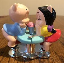 """Warner Bros Ceramic Character """"Porky & Petunia Pig� Salt & Pepper Shakers Nib"""