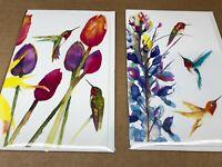 June Jurcak collection 16 FAVORITE HUMMINGBIRD FLOWER greeting cards w envelope