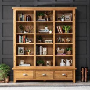 Cheshire Oak Grand Library Bookcase - Large Bookshelf 3 Drawers Display - AD70