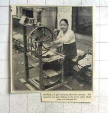 1938 Young Girl Spinning Silk From Cocoons In Korea, Bowl Boiling
