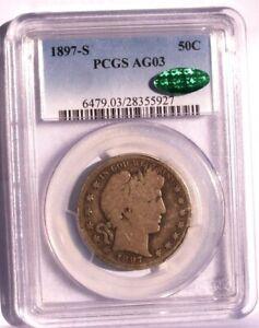 1897 S BARBER HALF DOLLAR PCGS AG03 + CAC