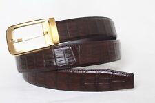 Dark Brown Men's Belt Genuine Crocodile ,ALLIGATOR BELLY SKIN Leahther Handmade