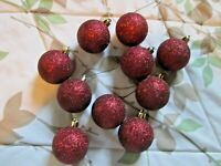"""Set of 10 Red Shiny Glitter Round Christmas Ball Hanging Ornaments 2"""""""